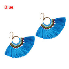 1pc Fan Shapebohotassel Hook Drop Dangle EarringsFashion Vintage Ethnic Jewelry Blue