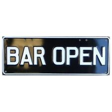 Novelty Number Plate - Bar Open - White On Black AUS Licence Plate Sign Wall Art