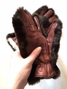 Vintage Rabbit Fur Gloves Unisex Brown Leather Gloves Mittens