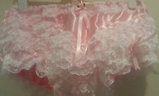 Beautiful Double Pink Satin Ultra Frilly Rumba Panties Sissy CD TV