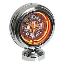 HARLEY DAVIDSON MOTORCYCLES BAR & SHIELD OIL CAN TABLE TOP NEON CLOCK L@@K