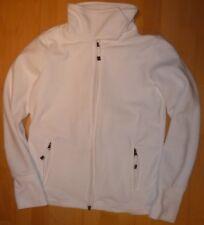 Weiße Fleece Jacke Hoodie mit Kragen mit Klett und Reißverschluss Gr. L 40 / 42