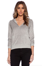 VELVET By Graham & Spencer Fifi Velour French Terry Hoodie Sweater Grey S $99