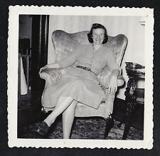 Vintage Photograph Woman Sitting in Retro Chair in Living Room