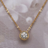 Solid 14K Yellow Gold Over 1.00 Ct Diamond Round Cut Solitaire Pendant Necklaces
