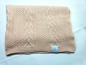 """Knitted Baby Blanket, Organic Cotton Yarn, 30 x 43.5"""" (Peony) pink coral peach"""