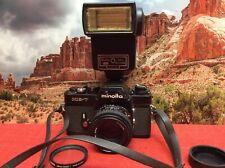 Vintage Minolta XE-7 SLR 35mm Camera w? MD 50MM F1:1.7 Lens, Flash - Tested