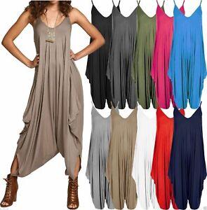 New Ladies Womens Cami Jumpsuit Playsuit Romper Harem Lagenlook Dress 8-26