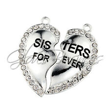 48x22mm Sisters Forever Heart Locket Rhinestone Pendants For Kid Necklace