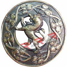 "Scottish Rampant Lion Kilt Brooch Fly  Plaid Antique Finish 3"" (7cm) diameter"