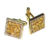 Gold-Tone Mens CuffLinks Yellow Color Stones Cuff Links