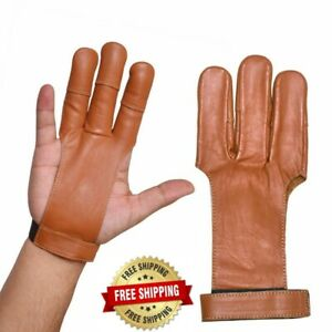 Archers Leather 3 Finger Right Hand Gloves100% Thick Leather Skin In 3 Colors