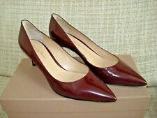 GIANVITO ROSSI Patent Pointy Pumps Maroon Mid Heel 39 RRP £395 Excellent