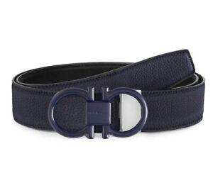 Salvatore Ferragamo Double Buckle Reversible Men's Leather Belt Size 40 Navy