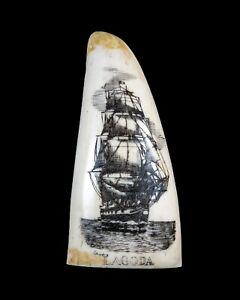 "Small Sperm Whale Tooth Replica Scrimshaw ""Lagoda"".  Resin"