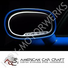 C5 CORVETTE SIDE VIEW MIRROR TRIM WITH SCRIPT BRUSHED STAINLESS STEEL 97 thru 04
