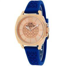 NWT Coach Women's Watch Blue Silicone & Rose Gold Case BOYFRIEND 14502095 $195