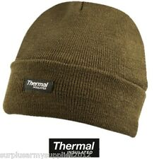 MILITARY BEANIE HAT THERMAL GREEN BRITISH ARMY BOB WINTER HAT CAMPING FISHING