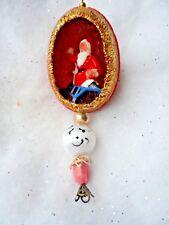 Vintage Handmade Christmas Ornament - Real Egg Diorama Santa On Sleigh