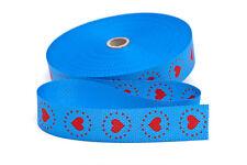 Gurtband Gurt Taschenhenkel Henkel Herzen blau rot 30 mm