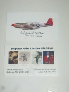 Pilot CHARLES MCGEE Signed Business Card TUSKEGEE AIRMAN AUTOGRAPH