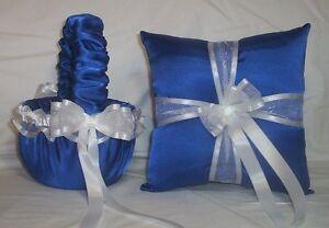 HORIZON BLUE SATIN / WHITE TRIM FLOWER GIRL BASKET & RING BEARER PILLOW #3
