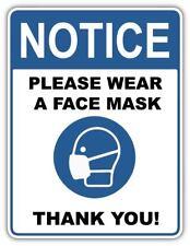 Wear Face Mask Public Entrance Notice Sign Vinyl Sticker Decal Store Door Wall