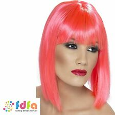 PINK GLAM SUPER MODEL MOD PUNK RAVE GIRL NEON WIG - womens ladies fancy dress