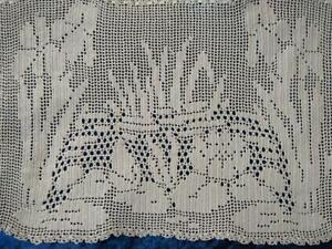 Antique MARY CARD? Iris Lily Pond  Filet Hand Crochet Centrepiece/mat