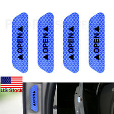 4PCS BLUE  Super Car Door Open Sticker Reflective Tape Safety Warning Decal