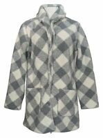 Susan Graver Women's Sz XS Reversible Sherpa & Polar Fleece Coat Gray A383194