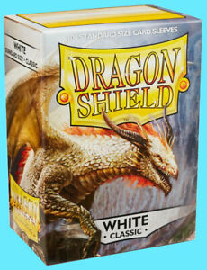 100 DRAGON SHIELD CLASSIC Standard Size WHITE Card Sleeves deck protector magic