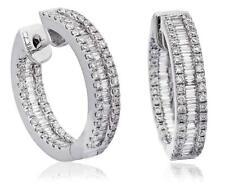 Genuine Diamond Hoop Earrings 1.40ct F VS Baguette Brilliant Cut 18ct White Gold