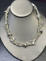 """Vintage Necklace Bib statement Silver Tone Woven Chain Crystal Beaded 16"""""""