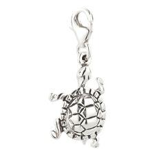Charm / Anhänger Schildkröte 5 mit Karabinerverschluß aus 925 Sterling Silber