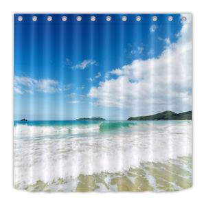 Bath Mat Set Waterproof Fabric Surf Beach Blue Sky Shower Curtain Liner 12 Hooks