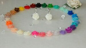 S/P Lever Back Drop Earrings & 10mm Resin Roses-Choose Colour-Special Occasions