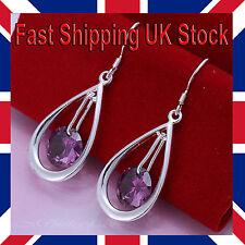 Ladies 925 Silver Teardrop Earrings Crystal Purple Dangle Hook Free Gift Bag