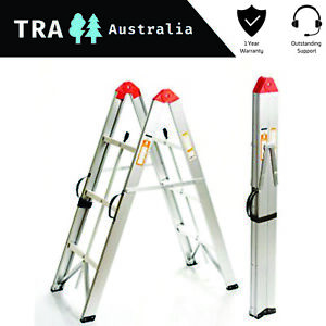 3 STEP COLLAPSIBLE PORTABLE LADDER HOME CLEANING PLATFORM BENCH STOOL TELESCOPIC