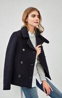 Lee Laine Caban Trench-Coat Veste Hiver 75% Premium Laine Bleu / NOIR XS/S/M/L