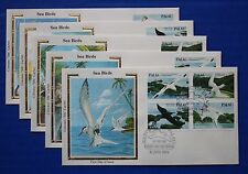 "Palau (C01-C04, C04a) 1984 Seabirds Colorano ""Silk"" FDCs"