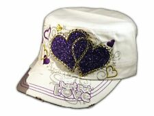 White Cadet Purple Hearts Castro Cap Army Hat Vintage Visor Jewel