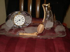 3 Piece Cristal d' Arques Lead Crystal Glass French Perfume Clock Tray Mothers