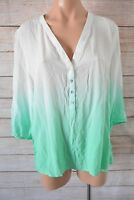 KATIES Top Sz 14 Large green white tunic shirt