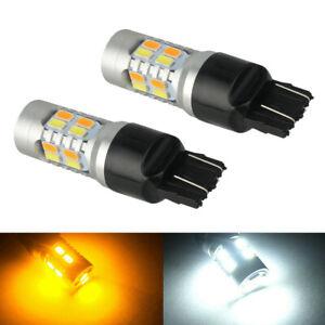 LED Turn Signal Light 7444 7440 WhiteAmber Switchback DRL Parking Bulb For Ford