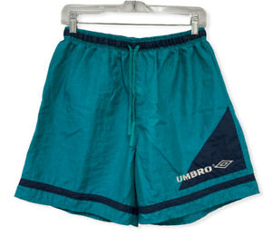 Vtg Umbro 90's Men's Size M Teal Embroidered Spellout Swim Trunk Shorts USA euc