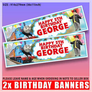 """Personalised THOMAS THE TANK ENGINE Birthday Banner x2 Any Name, Age - 36 """"x 11"""""""
