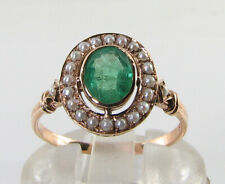 LARGE 9CT 9K ROSE GOLD COLOMBIAN EMERALD & PEARL ART DECO  INS RING FREE RESIZE