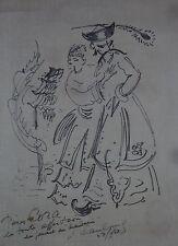 ANDRE HAMBOURG DESSIN OEUVRE ORIGINALE CORA VAUCAIRE ET LE MANDARIN DEDICACE +++