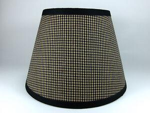 Country Primitive Black Mini Check Homespun Fabric Lampshade Lamp Shade